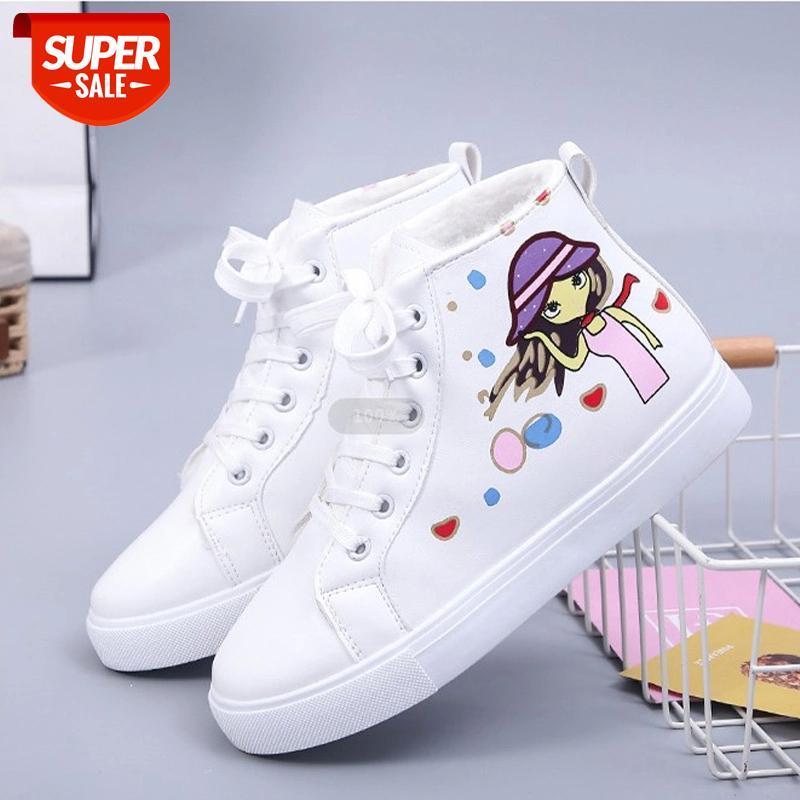 Femmes Sneakers hiver chaud vulcanisé plate-forme plate-forme plate-forme dames chaussures plats dentelle haut top 2020 filles filles chaussures occasionnels # xv4q