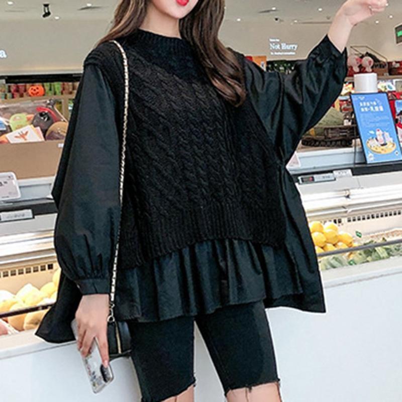 Женские свитеры 2021 поддельных двухсектурных свитер Женщины осень ленивый стиль сшивание свободно круглые шеи вязаные топы повседневная женская пуловер мода