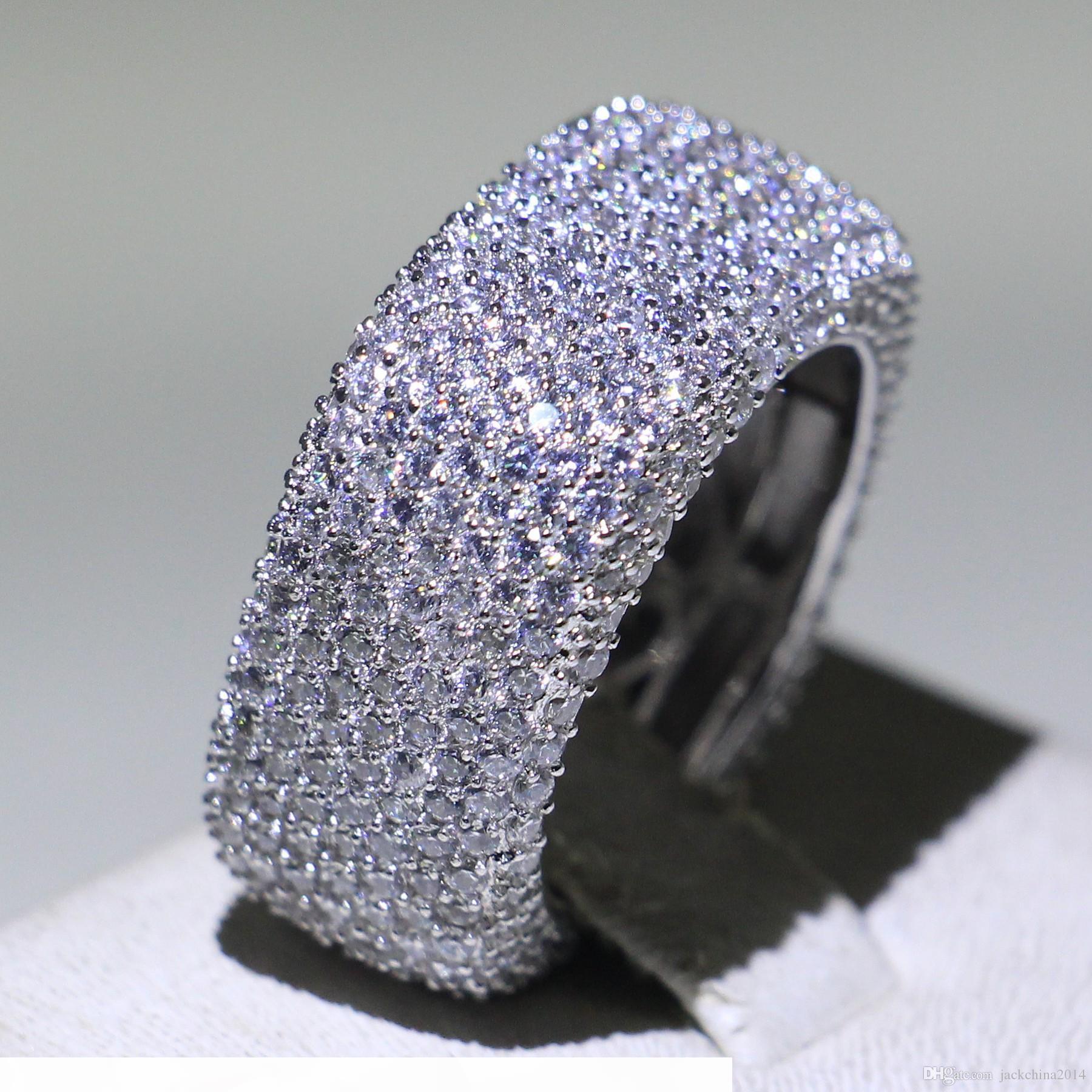 Größe 5-10 Luxus Schmuck 925 Sterling Silber Füllung Pave Mirco Vollweiß Saphir CZ Diamant Versprechen Ring Hochzeit Frauen Band Ring für Liebhaber