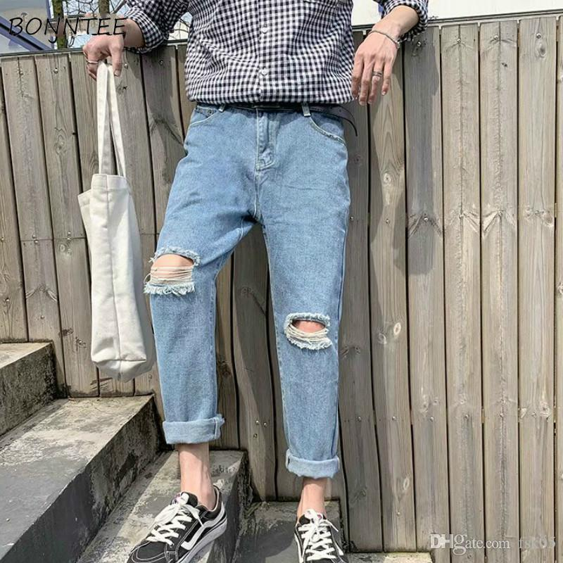 Men Jeans Hole Ankle-length Leisure Loose Daily New Streetwear All-match Simple Korean Style Harajuku Mens Chic Trendy