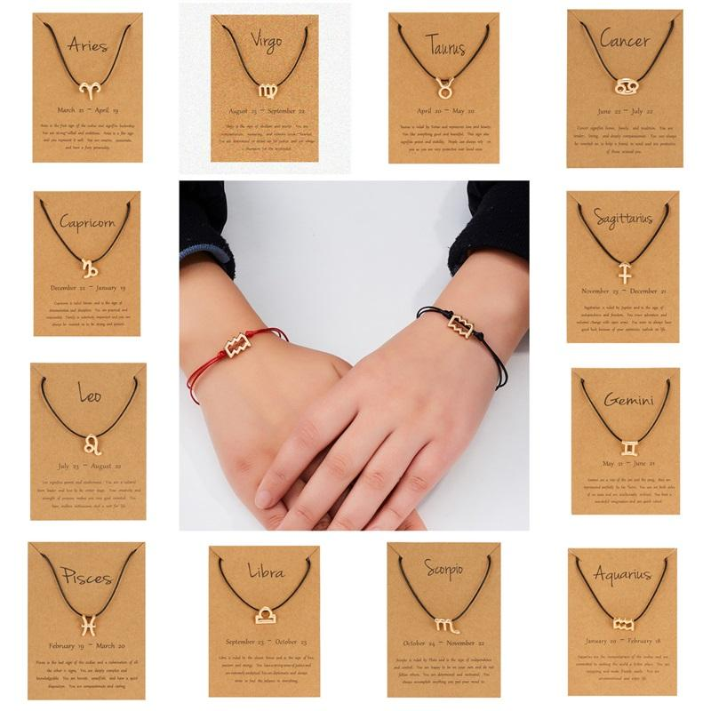 New 12 Zodiac Sign Couple bracelets with Card Constellation Horoscope Charm Red Black Rope chains Bangle Women Men Fashion Jewelry 317 G2