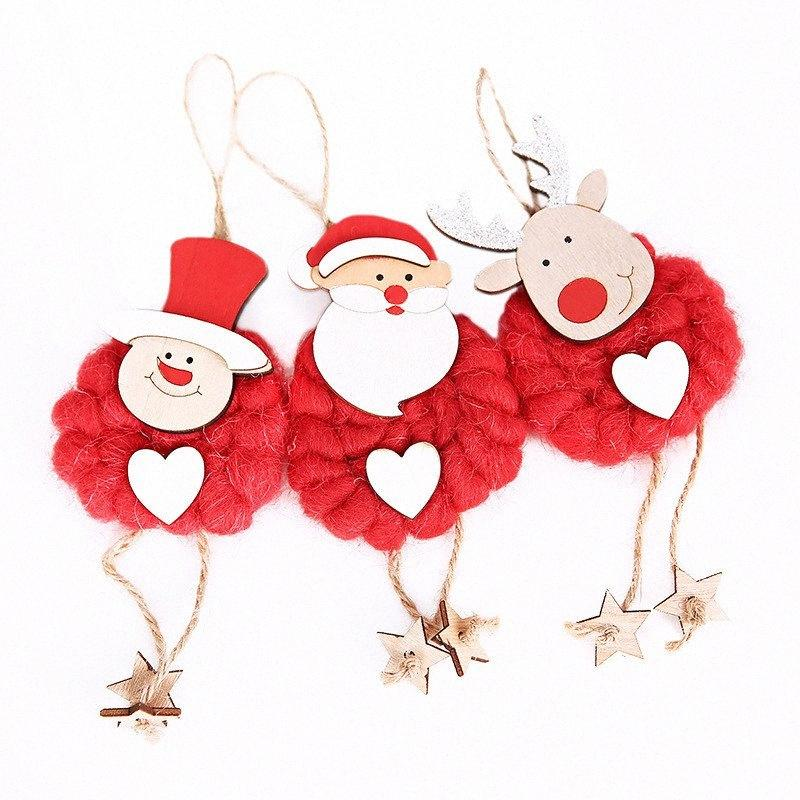 3Pcs/Set Santa Claus Snowman Deer Doll Pendant Hotel Window Christmas Tree Decoration Cloth Doll Hanging Ornaments Gifts Hzb5#