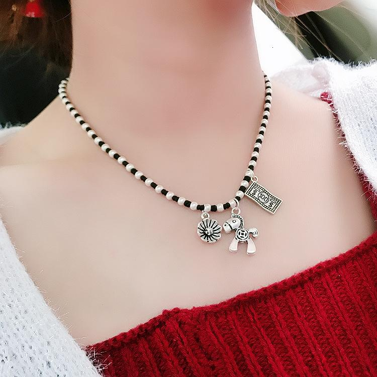 Accessorio moda coreano nuovo tessuto a mano ricco catena di clavicola donna pony collana fiore collana accessori personalizzati 1VEQV