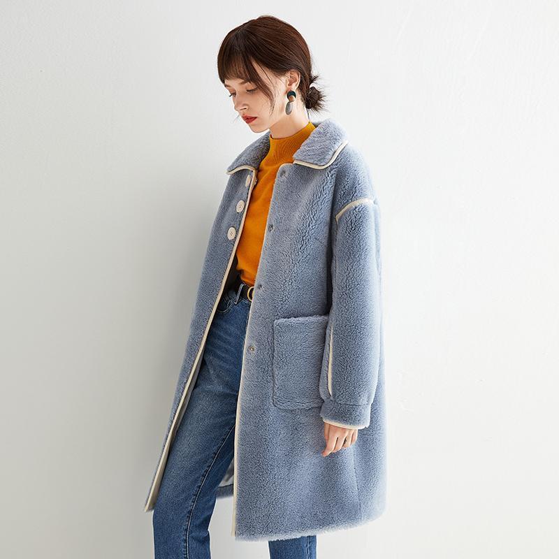 Futro damskie Faux Płaszcz Kobiety Prawdziwe Ubrania 2021 Owce Shearling Wool Kurtka Kawaii Jesień Zima Koreańskie Topy V19F75416 YY1685