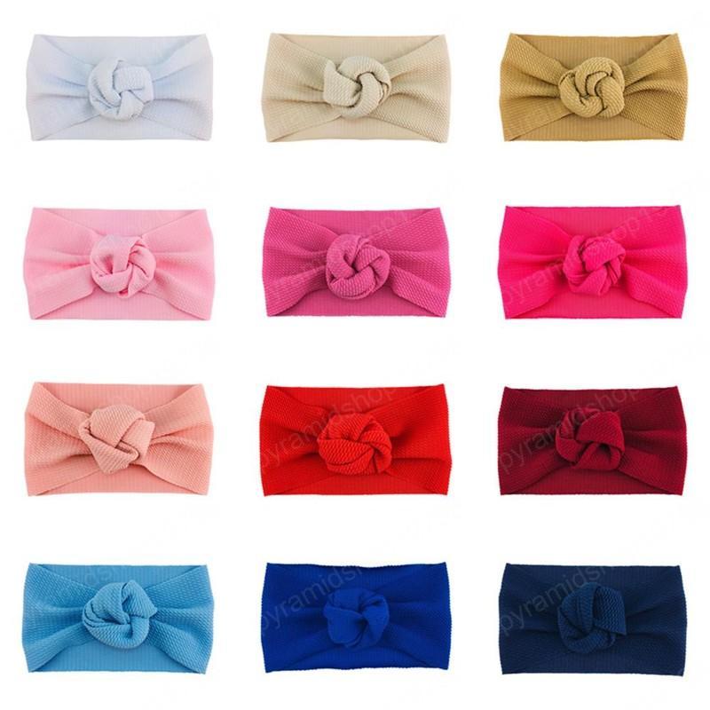 21 Couleur bandeau Bandeau bébé Turban Turban Toddler Bébé fille Rose Fleur Burband Bandeau Solide Headwear Head Wrap Bande de cheveux Accessoires