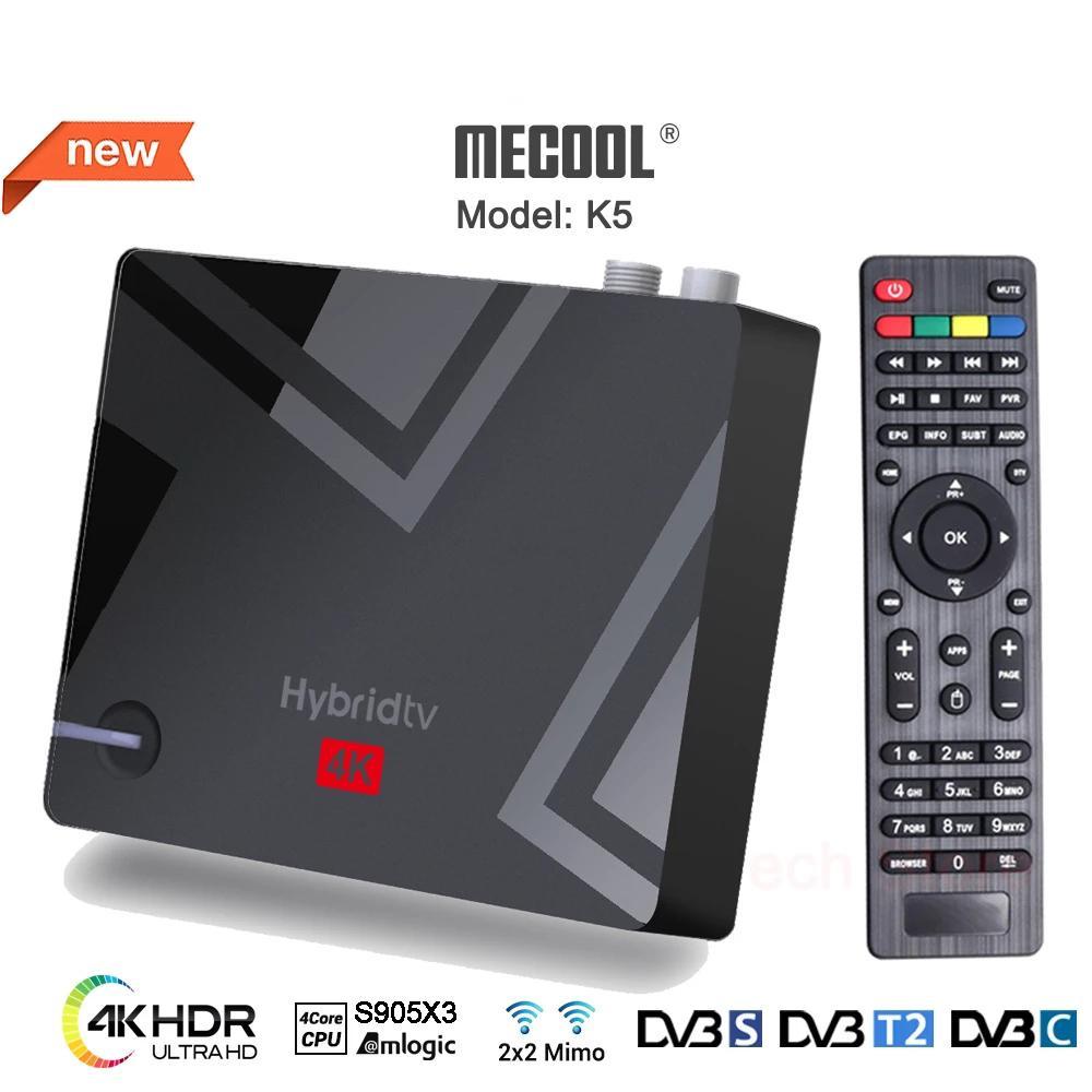 MECOOL New K5 Smart Tv Box Android 9.0 Amlogic S905X3 2.4G 5G WIFI LAN 10/100M Bluetooth 4.1 2GB 16GB DVB S2/T2/ Set Top BOX