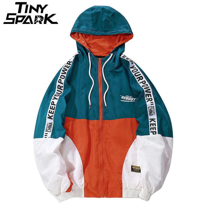 Hip Hop Erkek Kapşonlu Rüzgarlık Ceket Sonbahar Rahat Vintage Renk Blok Gevşek Parça Hoodie Ceket Palto Streetwear Hiphop 201114
