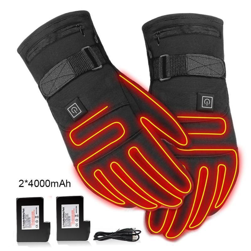USB-elektrische erhitzte Handschuhe 3,7V 4000mAh Akku Powered-Handwärmer für die Jagd Angeln Skifahren Motorrad Radfahren