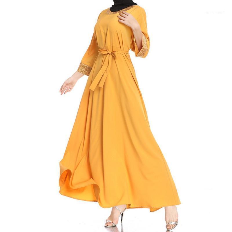 Donne da bagno donna musulmana donna paillettes allentata manica lunga girocollo festival abito hijab sera falso 2 pezzi vestiti islamici1