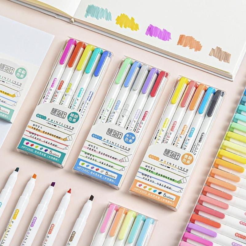 12 teile / satz Multicolor-Stifte Milder Liner Doppelköpfiger Stift Kunst Stift Geschenk Niedliche Schule Mark Fluoreszierende Textmarker Zeichnung Schreibwaren
