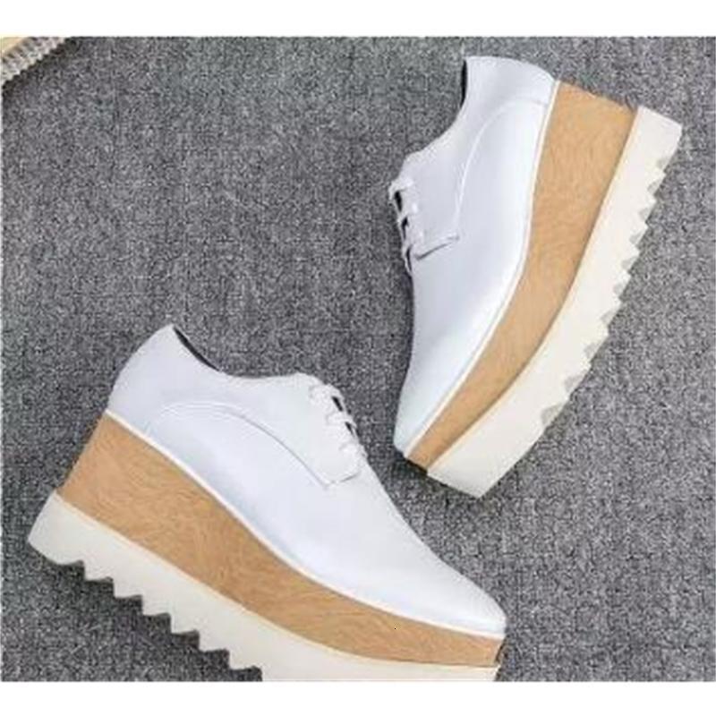 nuevo envío de las mujeres zapatos de Stella Mccartney Stell Italia Elyse brillo del oro blanco acedía Oxford Derby Plataforma Britt