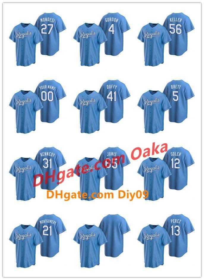 KansasCity Royals MEN WOMEN JUGEND 13 Salvador Perez 41 Danny Duffy 2020 Alternate Baseball Jersey
