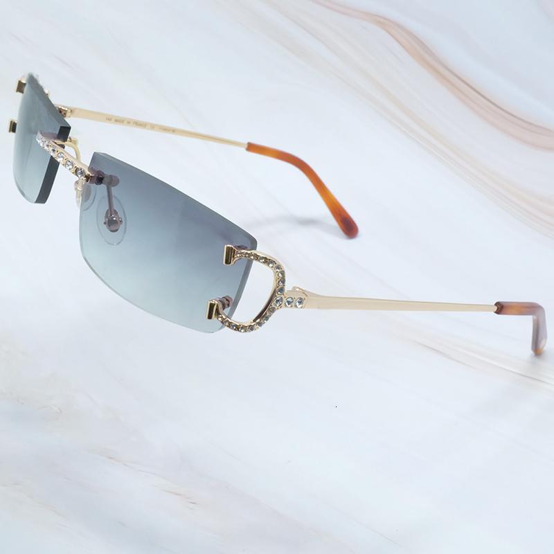 2020 Óculos de sol homens mulheres sem aro Chegada rhinestones Carter Óculos de Sol Homem Diamante Luxo Fio de Óculos de Sol Gelado para fora Sombras Eyewear