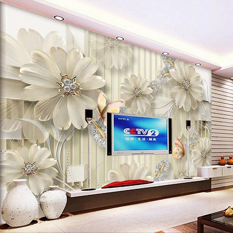 Drop frete foto personalizado papel parede 3d estereoscópico jóias diamante flor parede pintura moderna tv backdrop mural wallpape 7jou #