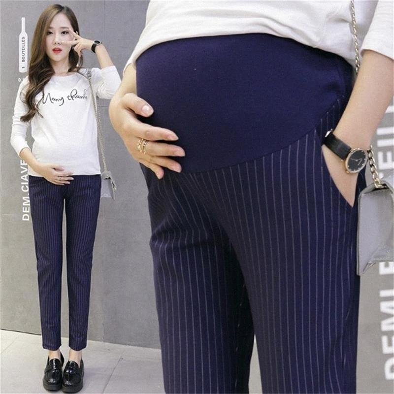 Cintura elástico 100% algodón pantalones de maternidad para la ropa de embarazo para las mujeres embarazadas Legging Otoño Invierno KQpF #