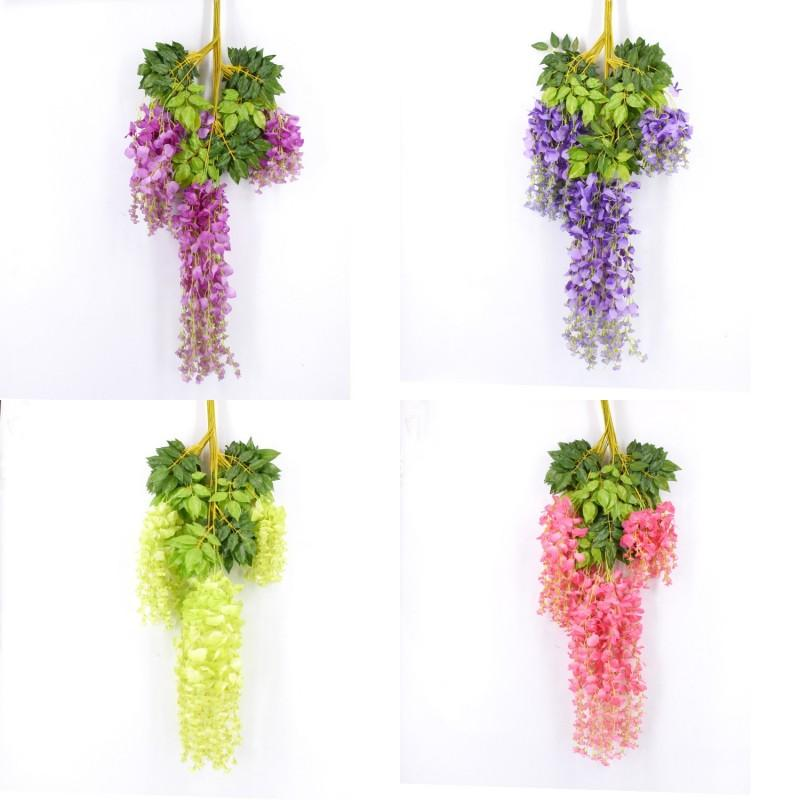 7 colores elegantes artificiales de seda flor wisteria flor viine ratán para casa jardín fiesta decoración de boda 75 cm y 110 cm disponibles 99 N2