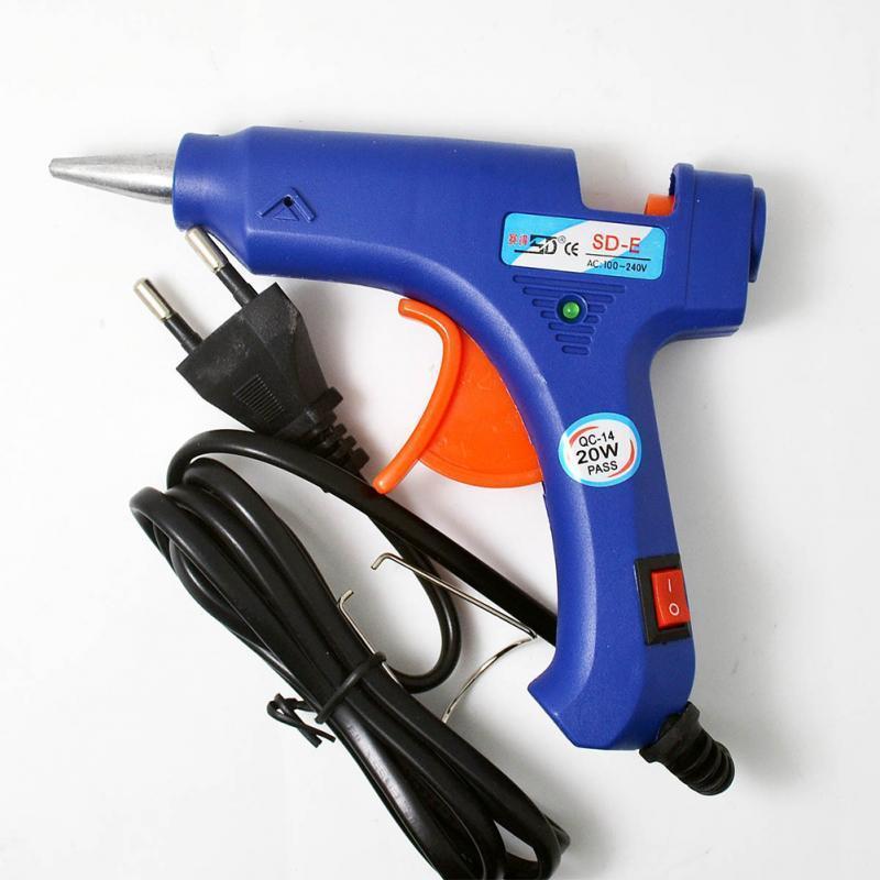 أدوات الخياطة المفاهيم 100-220 فولت عالية درجة الحرارة سخان تذوب الغراء بندقية 20 واط أداة إصلاح الحرارة الأزرق مصغرة مع الزناد الولايات المتحدة / الاتحاد الأوروبي