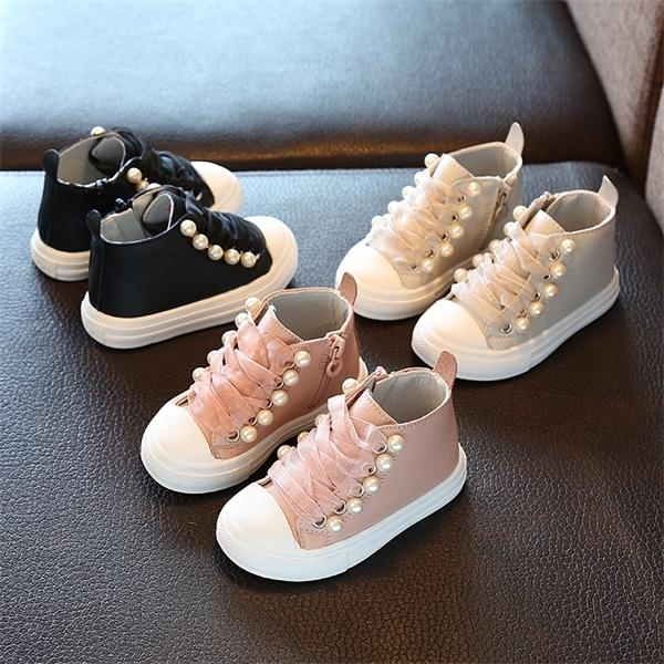 Spring Autumn new kids shoes school super perfect Rivet pearl design girls princess boots Super soft and comfortab 1-6 years oldX1024