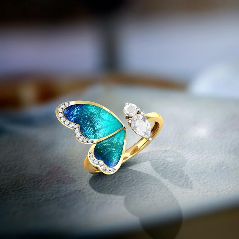 Anillo de las mujeres adjustble con la mariposa azul anillos de oro femenina romántica de cumpleaños regalo de Elegent simple Gilr joyería de moda A3M465