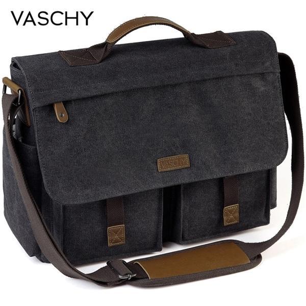 VASCHY Messenger Vintage Water Resistant Waxed Canvas 15.6 inch Laptop Briefcase Padded Shoulder Bag for Men Women Q1104