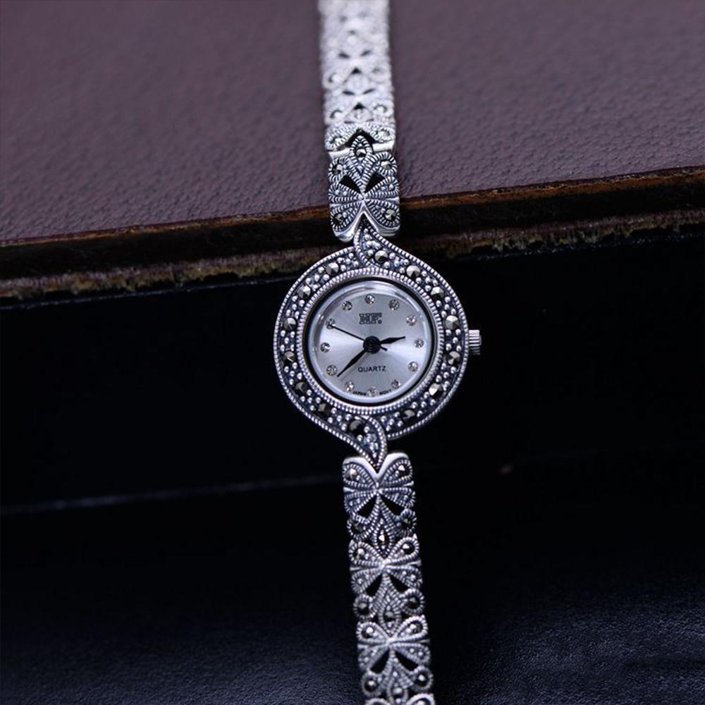 Kadın Lüks Takı için Zirkon Katı 925 Gümüş Bilezik MetJakt Vintage Saf El Yapımı İzle