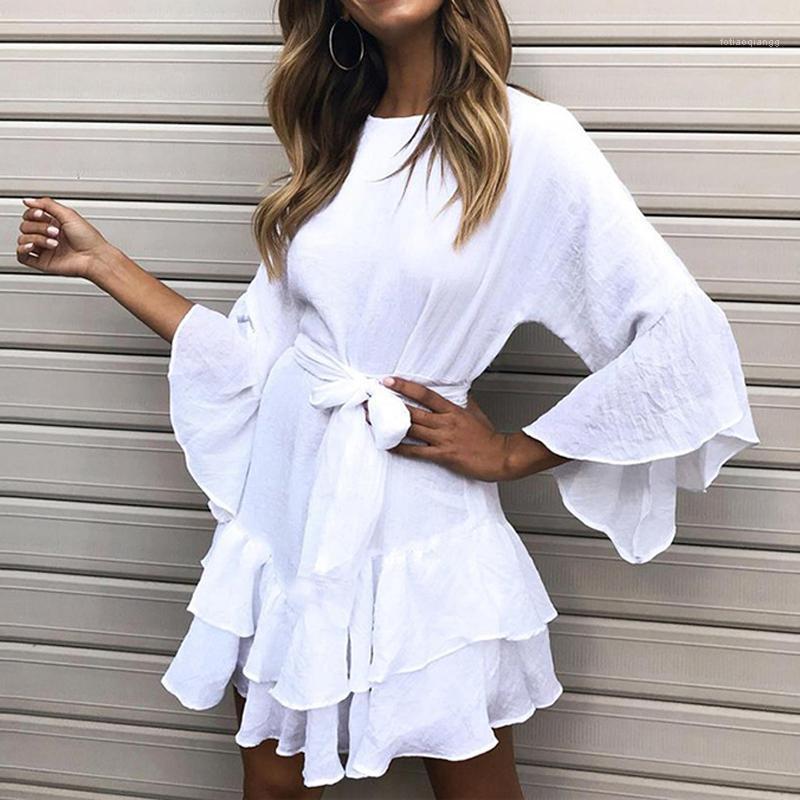Lipswag Seksi Ruffles O-Boyun Yaz Elbise Rahat Üç Çeyrek Kol Kadınlar Mini Elbise 2020 Katı Plaj Kemer Elbiseler Vestido1