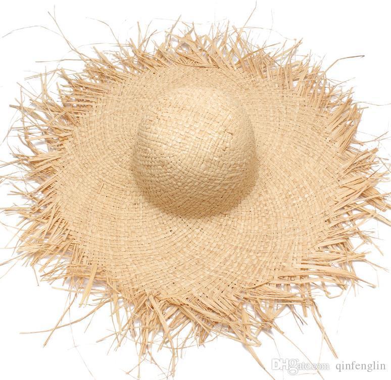 Hasır Şapka Geniş Kadınlar Plajı için Brim Kadınlar Güneş Şapkalar Geniş Brim Beach Side Cap Floppy Kadın Rafya Hasır Şapka Sombreros Caps