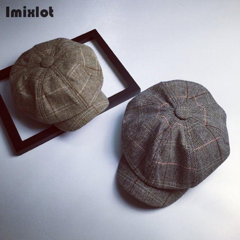 Imixlot britischer Maler Männer Berets Hat Herbst New Vintage-Herringbone Octagon Cap Frauen Casual Kürbis-Hut Wohnung Barett Hüte