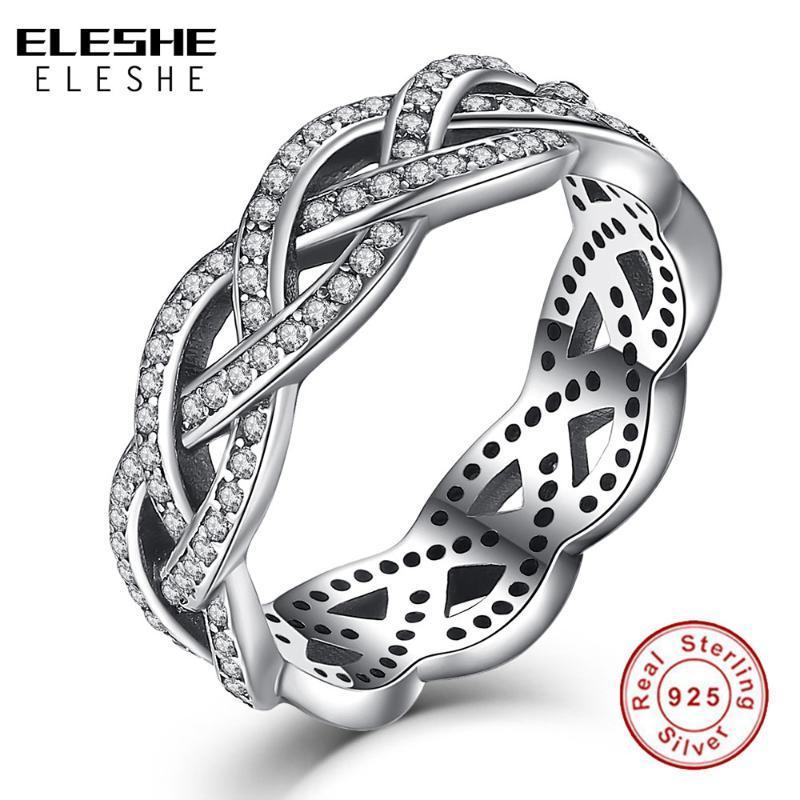 ELESHE étincelant zircone cubique bague en cristal 925 Sterling argent Twist of Fate Empilable Bague pour femme Bijoux de Noël