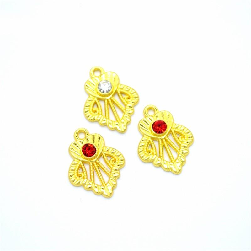 Bulk 300pcs mini 18*14mm gold charms pendant in heart shaped flower charms good for necklace, bracelet, garment decoration