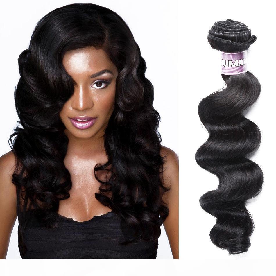 "BD Brasileiro Loose Onda Body Wave Wave Human Hair 100% Remy Hair Weave Bundles Natural Black 10 ""-28"" Polegada Frete Grátis"