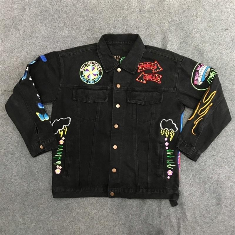 FW Travis Scott Astroworld Bordado Denim Chaqueta Mujeres Hombres Hiphop Streetwear Ts Comprar El boleto Denim Chaqueta y abrigos Hombres Y201026
