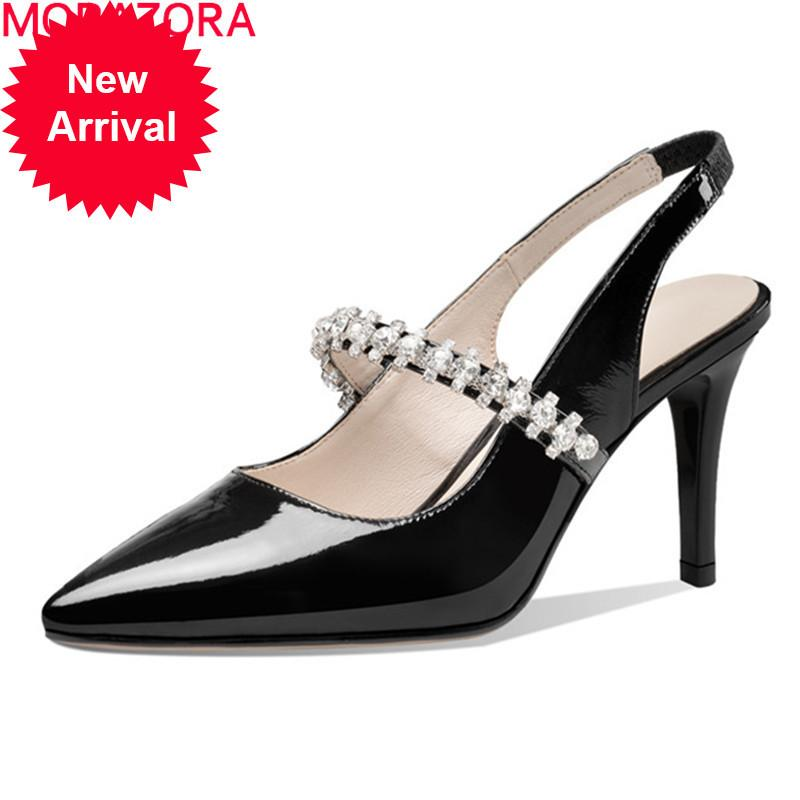 MORAZORA 2020 Summer shallow women pumps genuine leather fashion high heels dress simple black white color ladies shoes
