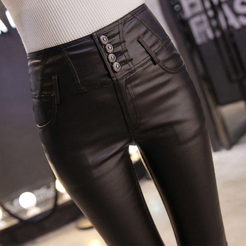 Pantaloni Autunno Inverno a vita alta Skinny matita nera del Faux cuoio delle donne dell'unità per le donne 2020 Fashion Casual Abbigliamento Femminile