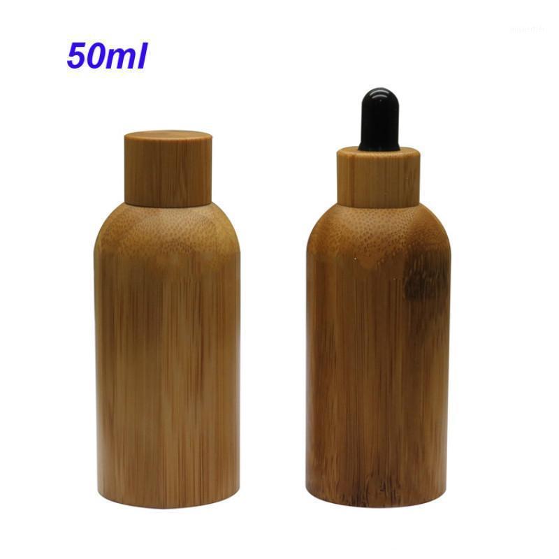 50 ml de bambú natural aceite esencial vacío estuche de gotero cosmético con pipeta de vidrio contenedores de vidrio de maquillaje Cap1 de madera