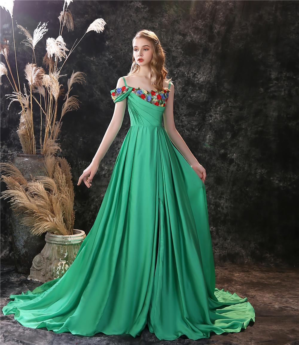 New Design Green Prom Gown with Colorful Embroider Side Split A-line Women Evening Dress Custom Made