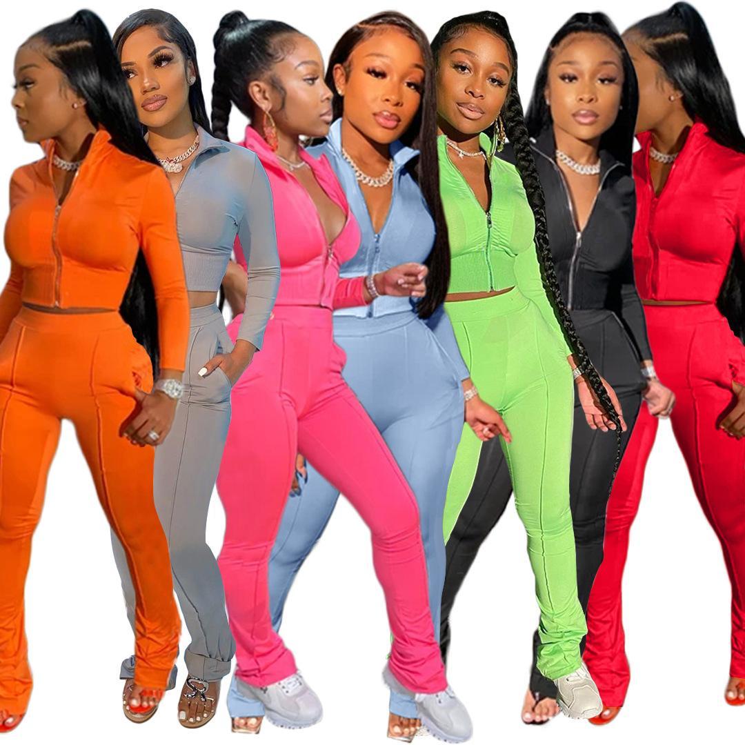 Femmes Designer Survêtement Ensemble 2 pièces Sports Loisirs Mode manches longues Micro évasés Pantalons Tenues Zipper Top Pantalon de jogging Costume DHL