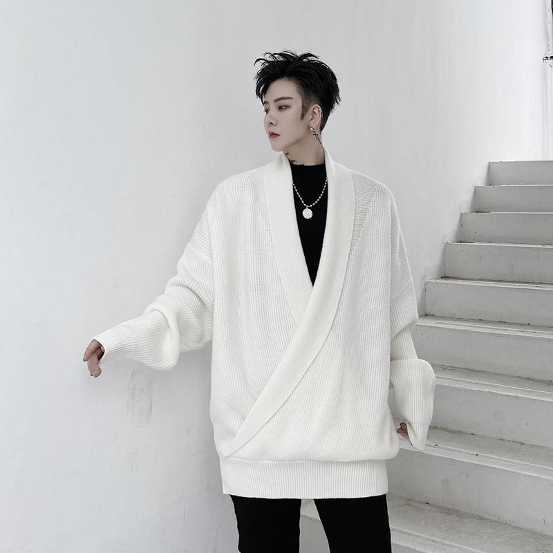 Autunno inverno maschio donne streetwear vintage moda coppia maglia uomo con scollo a V scorollo maglione pullover