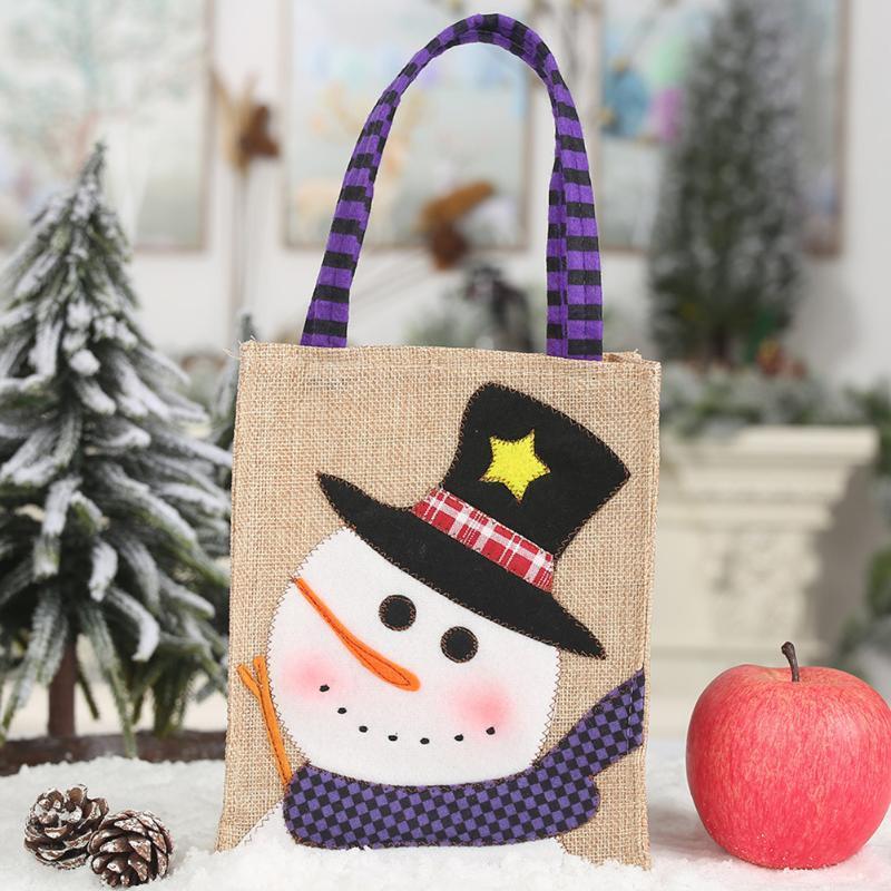 Рождественский подарок конфеты сумки Санта-Клаус снеговика сумка для хранения Xmas партия украшения Новый год украшения