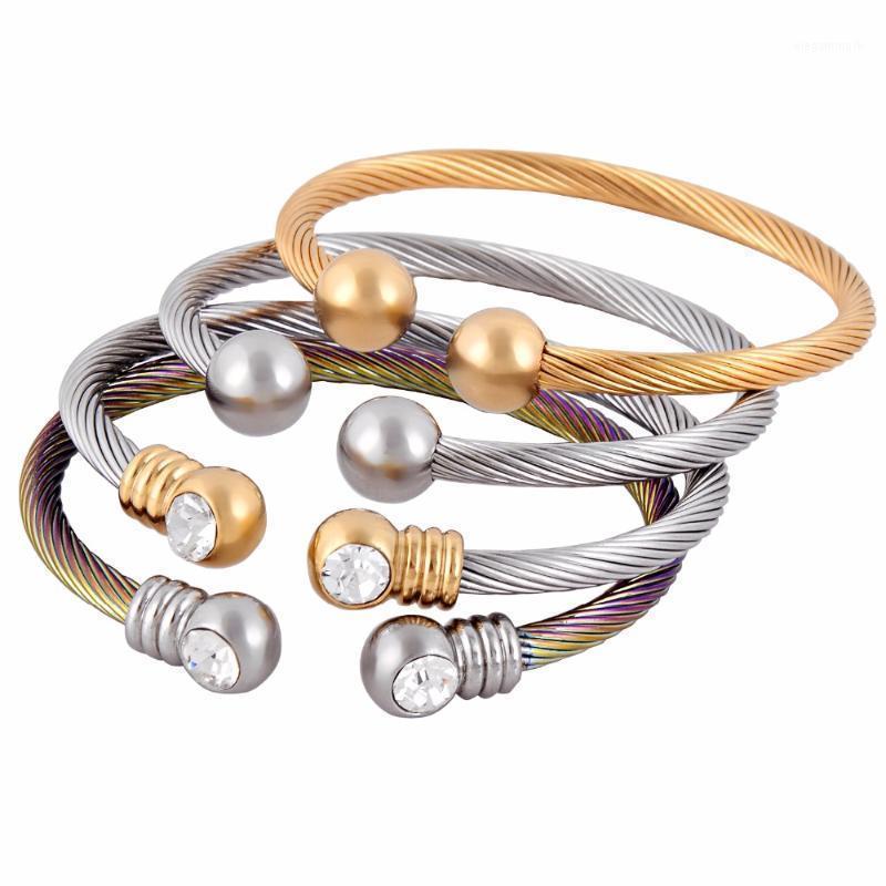 Ювелирные изделия из нержавеющей стали мода женские кабель эластичный шар шарм браслет бросет1