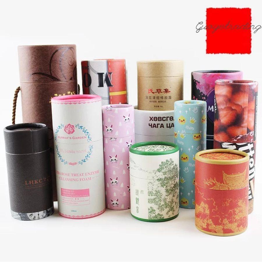 Boîtes de tubes de papier Tea Cans Stockage alimentaire Emballage cosmétique Beaux cylindres Kraft, etc. Les conceptions ou tailles de logos peuvent être personnalisées offrant des fichiers américains pour finaliser le travail