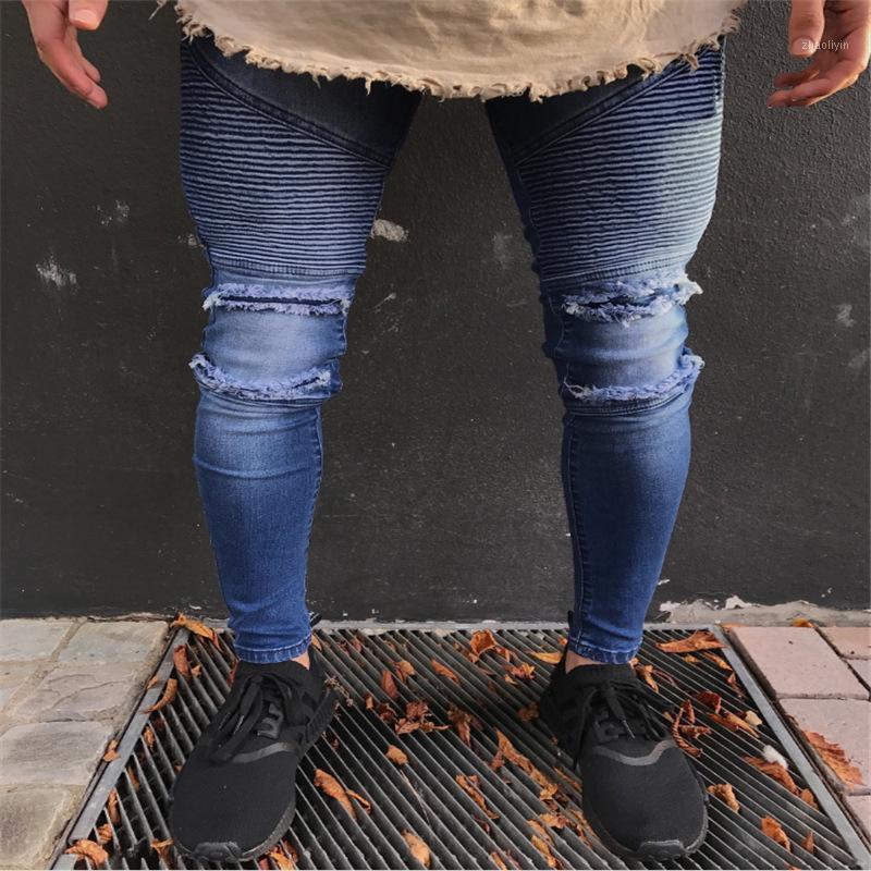 Men Fashion Denim Skinny Jeans Blue Color1