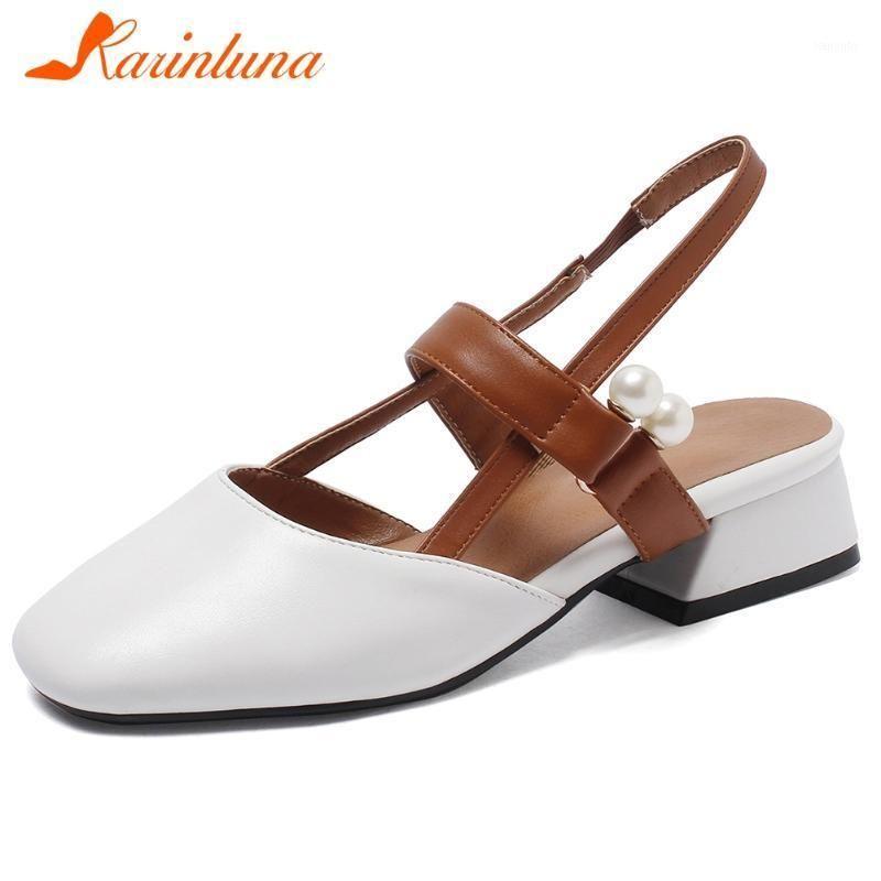 Karin big size 31-43 elegante niña sandalias casuales moda perla sandalias de verano mujeres zapatos de tacones bajos gruesos mujer 1