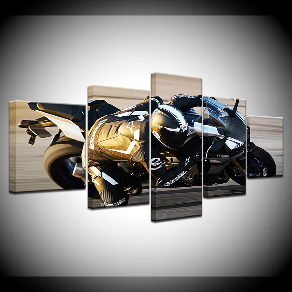 2015 YZF-R1 Motorcycles 5 Piece HD Wallpapers Art Canvas Print modern Poster Modular art painting for Living Room Home Decor