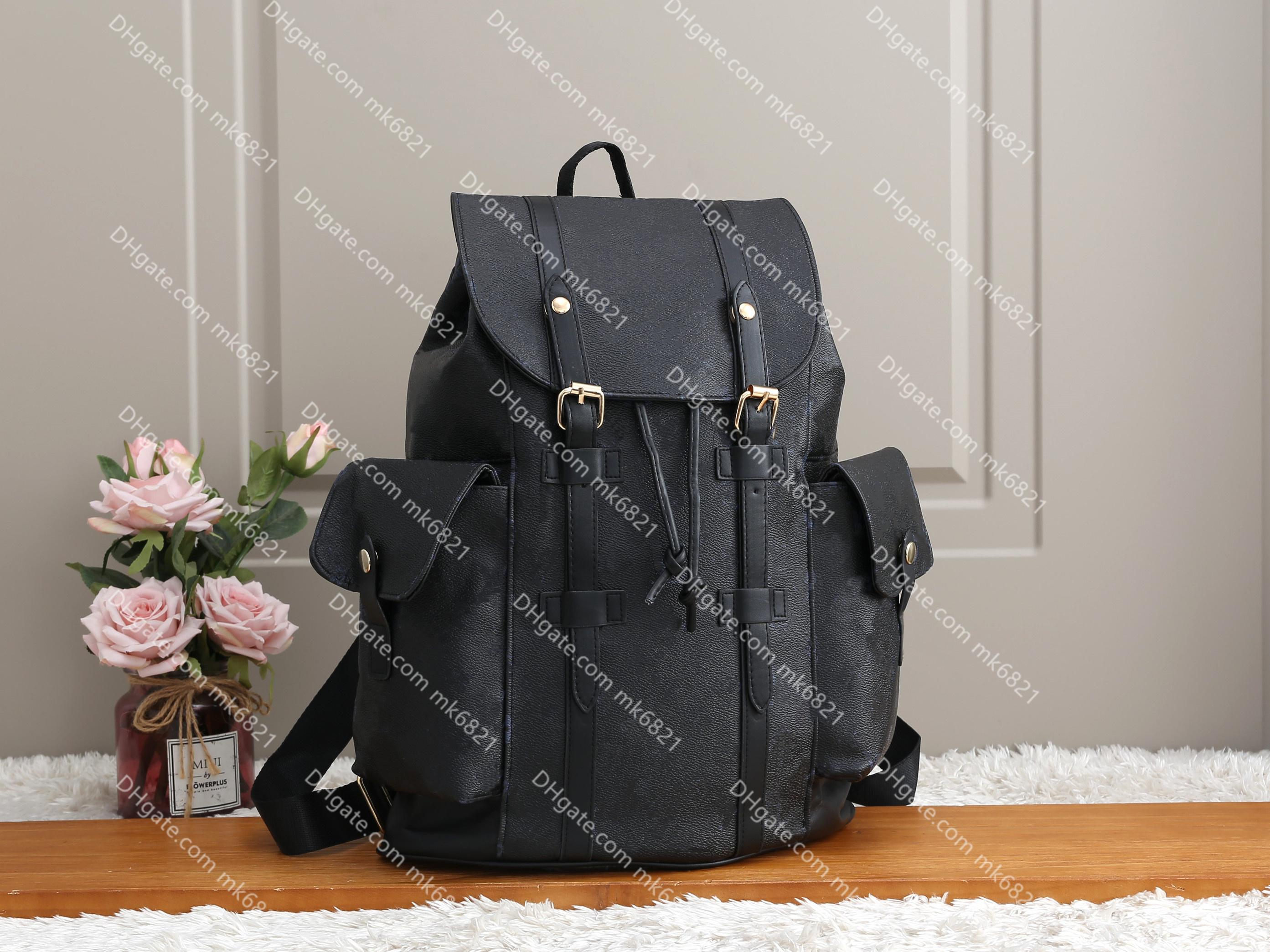 Couro christopher mochila luxo designer masapsack homens mulheres mochilas flores e xadrez moda schoolbag mochila pack back