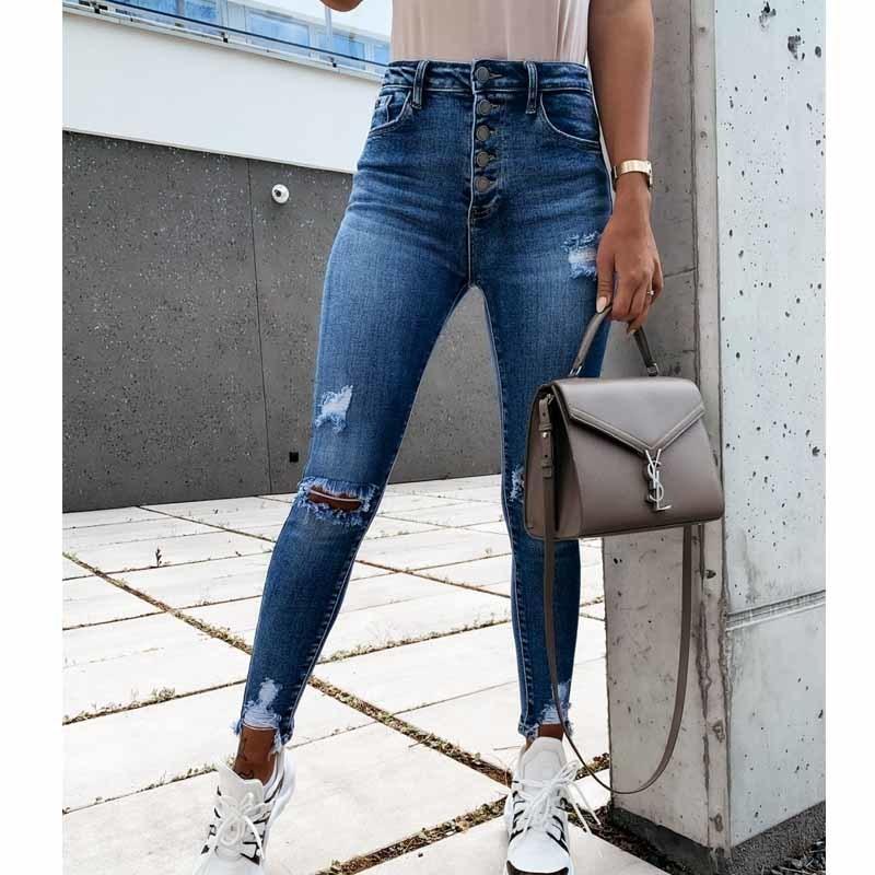 2020 Pantaloni spinta Primavera Autunno Nuovo High Street elasticità Jeans aderenti Donne Moda Hole sbiancato epoca Fino denim sottile Femme C1111