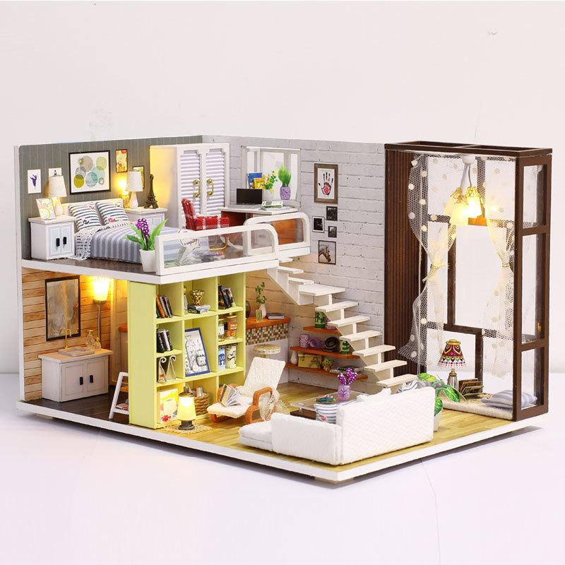 New Doll House Toy Miniature Wooden Doll House Loft with Kitchen Bedroom Bathroom Best Kids Gift Diy Dollhouse Toys For Children Y200704