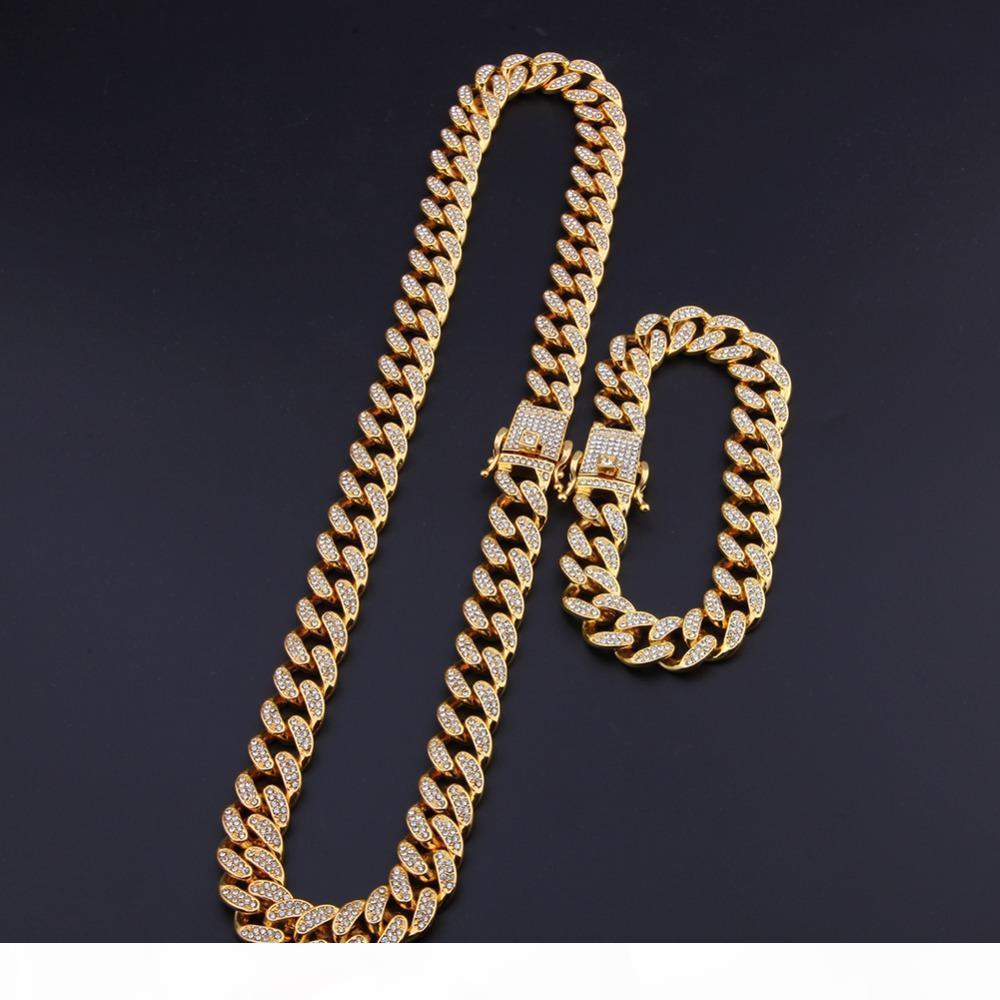 13mm وميامي الكوبية ربط سلسلة الذهب قلادة فضية سوار مجموعة مثلج خارج كريستال حجر الراين بلينغ الهيب هوب للرجال