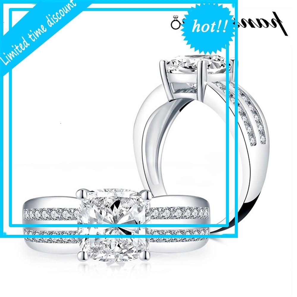 Pansysen 100% 925 Ayar Gümüş 9mm Simüle Mozanit Elmas Bahis Nişan Yüzüğü Kadınlar Erkekler Için Güzel Takı Toptan