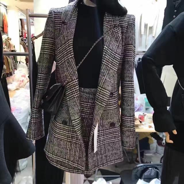 2020 piste Automne Hiver Designer Tweed costumes formels pour les femmes Office Lady Plaid Blazer Top Mini jupe 2 Set Piece